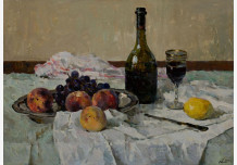 Still Life with Fruit. A glass of wine