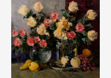 Still Life with Fruit. Delicate roses