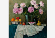 Still Life with Fruit. Pink peonies