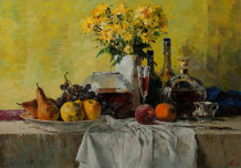 Still Life with Fruit on a yellow background