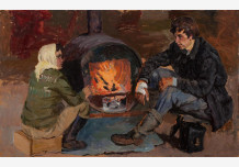 Boy and girl are heated in a homemade stove