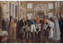 """The sketch for the painting """", Alexander I and the Prussian king Friedrich Wilhelm III in the dining room of pilgrims home of Count N.P. Sheremetyev"""