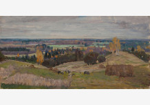 Country landscape with cows