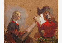 """Two girls. Sketch to the painting """"Young Artist"""""""