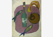Still Life. Bottle, and fish
