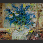 Blue bouquet in vase