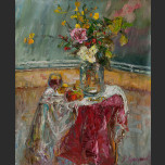 Still life with wine and roses
