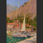 Yachts in the Kotor's harbor