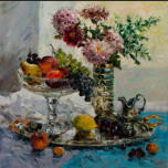 Still Life with Fruit. Flowers and Grapes