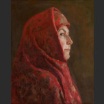 Portrait of a woman in a headscarf