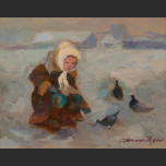 Girl with pigeons