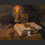 Still life with a burning candle