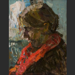 Portrait of a boy in a red scarf