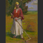 A woman with a rake