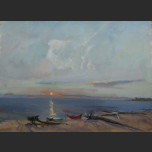 On the Volga. Sunset (Sketch)