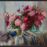 Still Life. Peonies and cornflowers