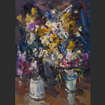 Wildflowers in the three vases